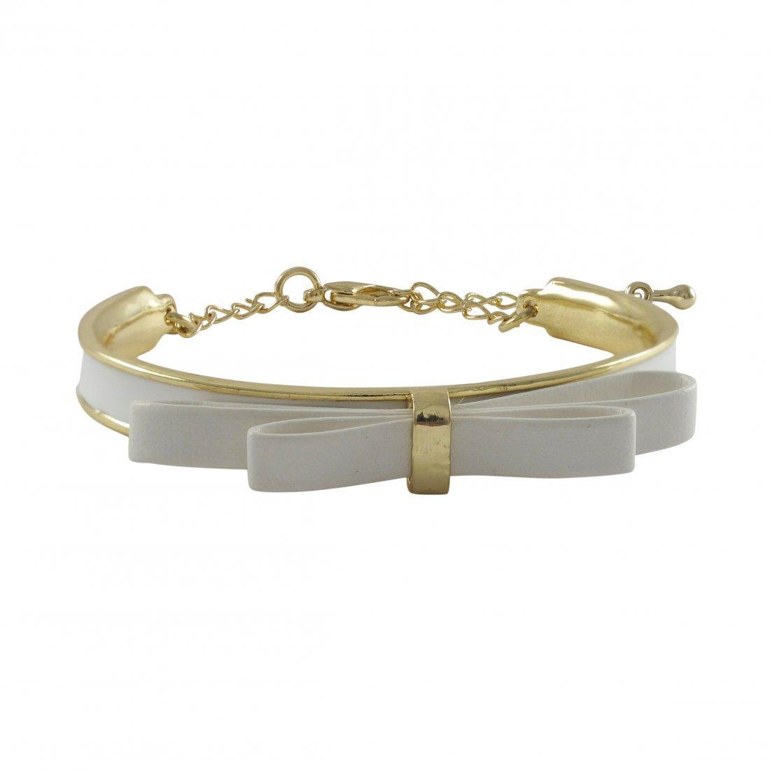 White Bow On White Enamel Gold Plated Brass Bangle Brac