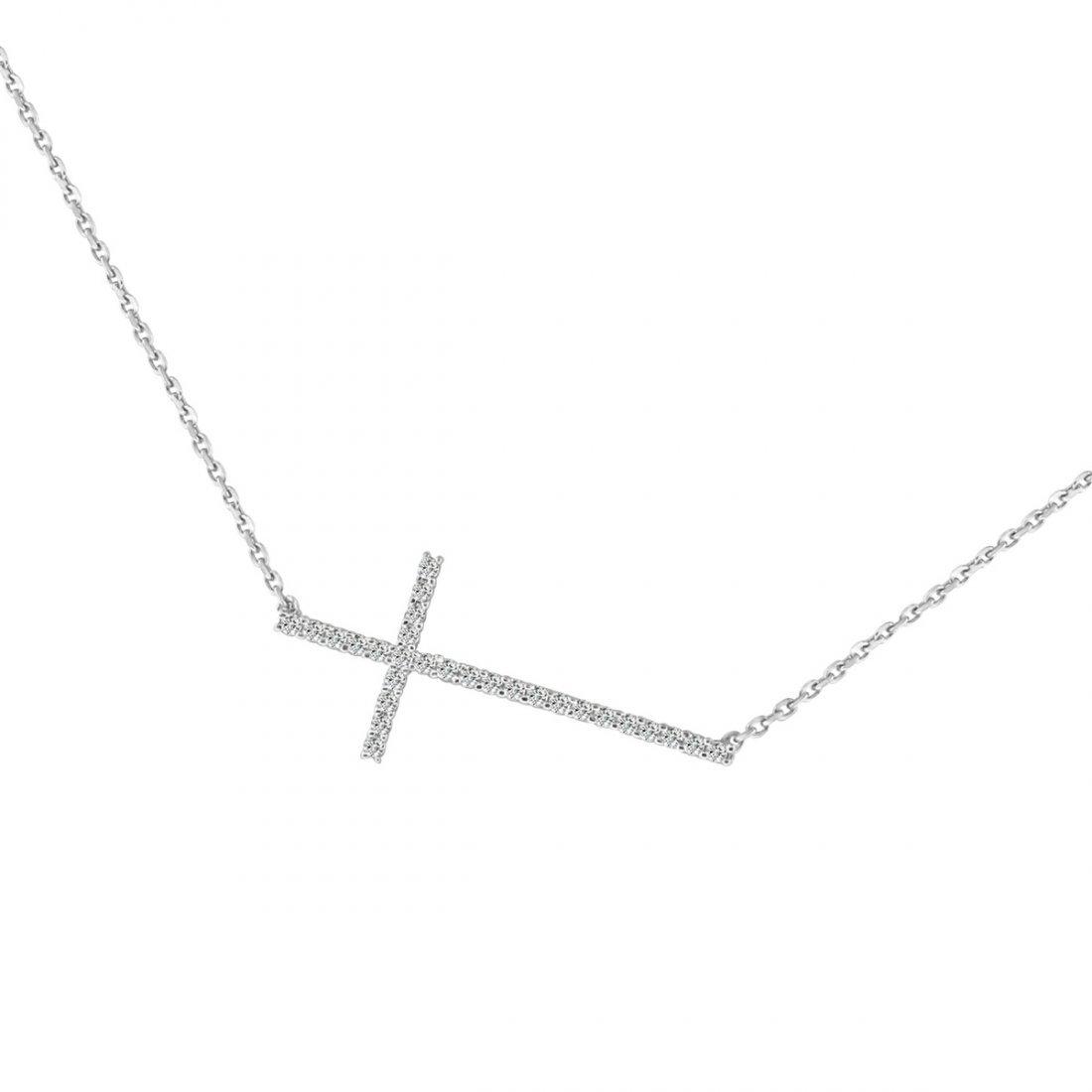 Sterling Silver Rhodium Plated and CZ dainty sideway cr