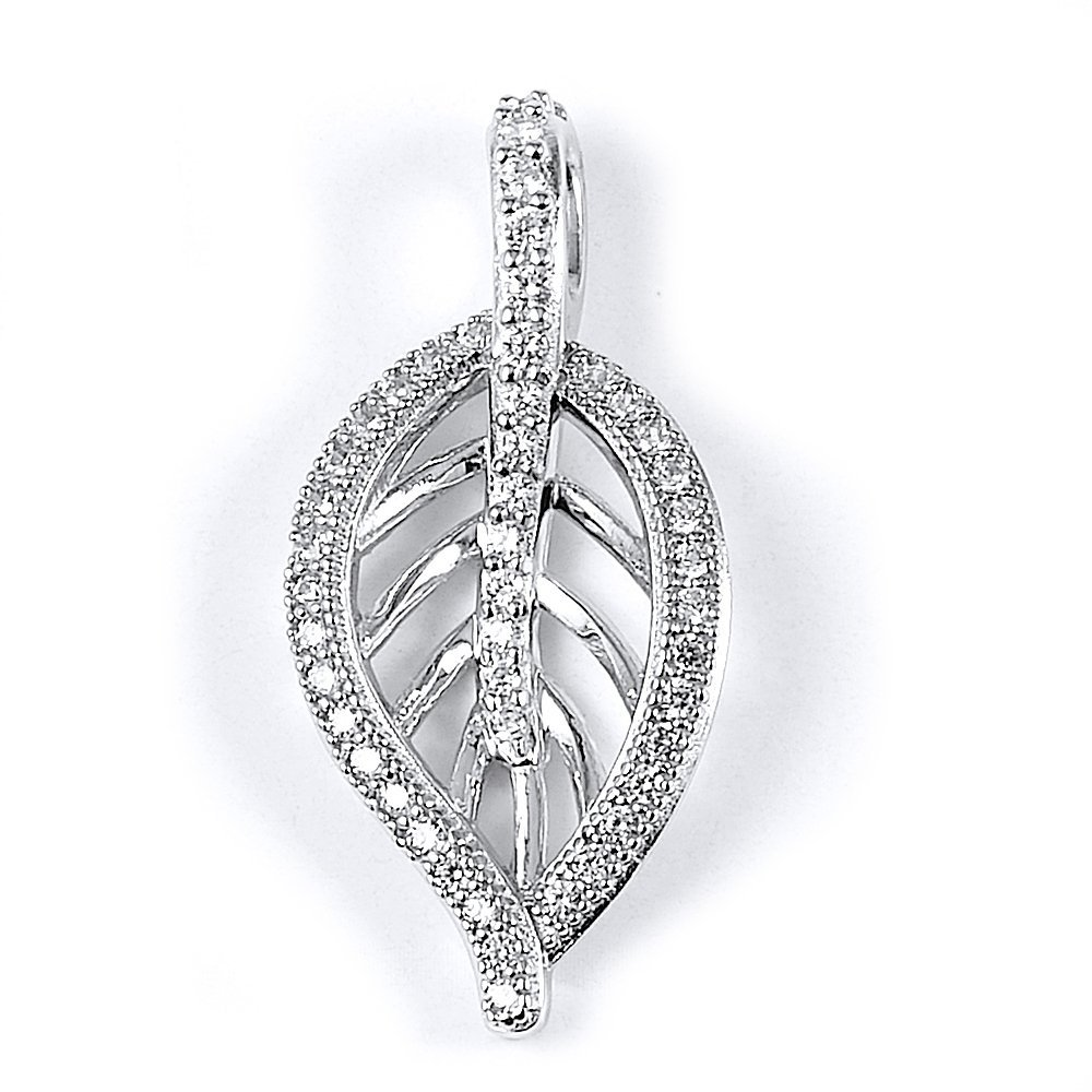 Sterling Silver Rhodium Plated and CZ Leaf Pendant  Mea