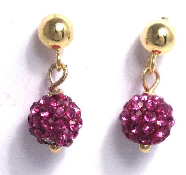 Sterling Silver-GD Crystal ball earrings