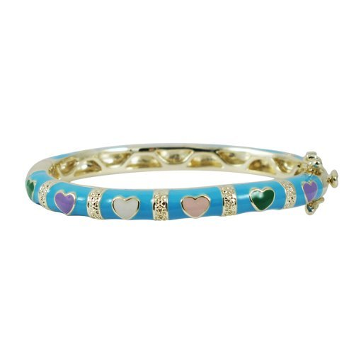 Turquoise Enamel, Multi Color Hearts-Gold Plated Brass