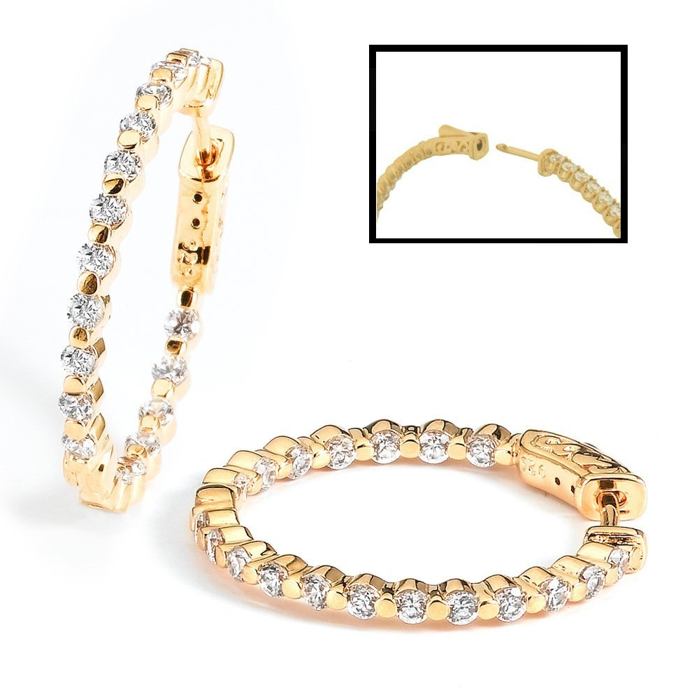 Sterling Silver Gold Plated with CZ Hoop Earrings  with