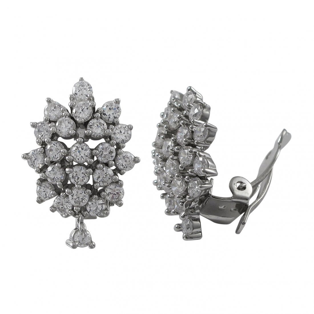 Rhodium Plated Sterling Silver, CZ Cluster Clip On Earr