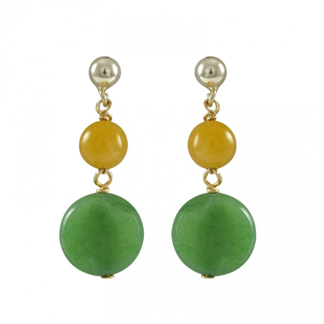 Honey 6mm Round Ball And Apple Green 10mm Round Flat Se
