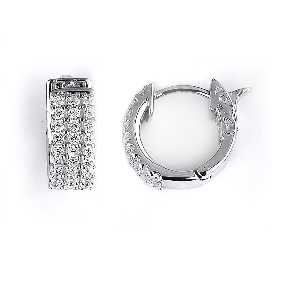Sterling Silver Rhodium Plated and 3 rows of CZ Hoop Ea