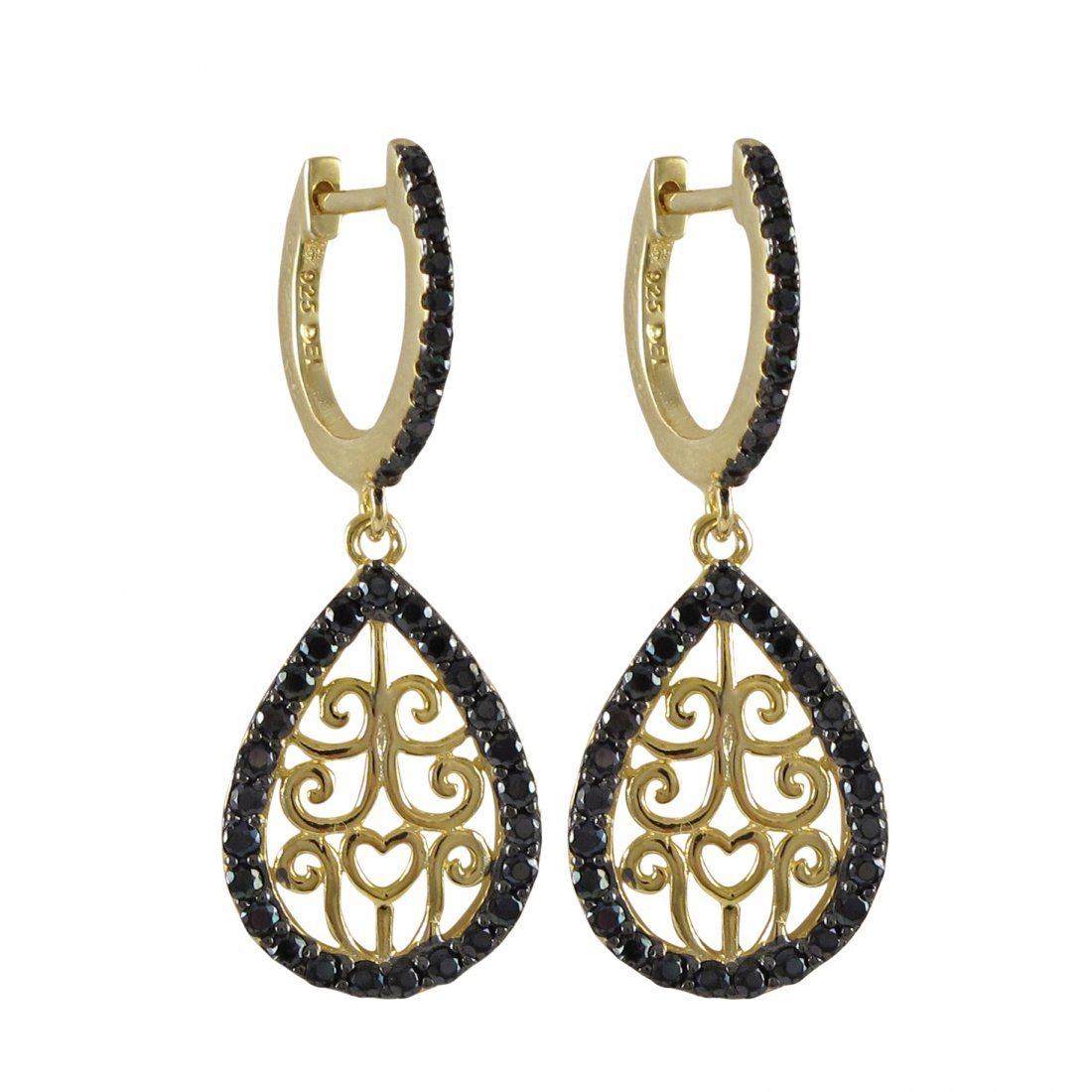 Gold And Black Over Sterling Silver Filigree Teardrop L