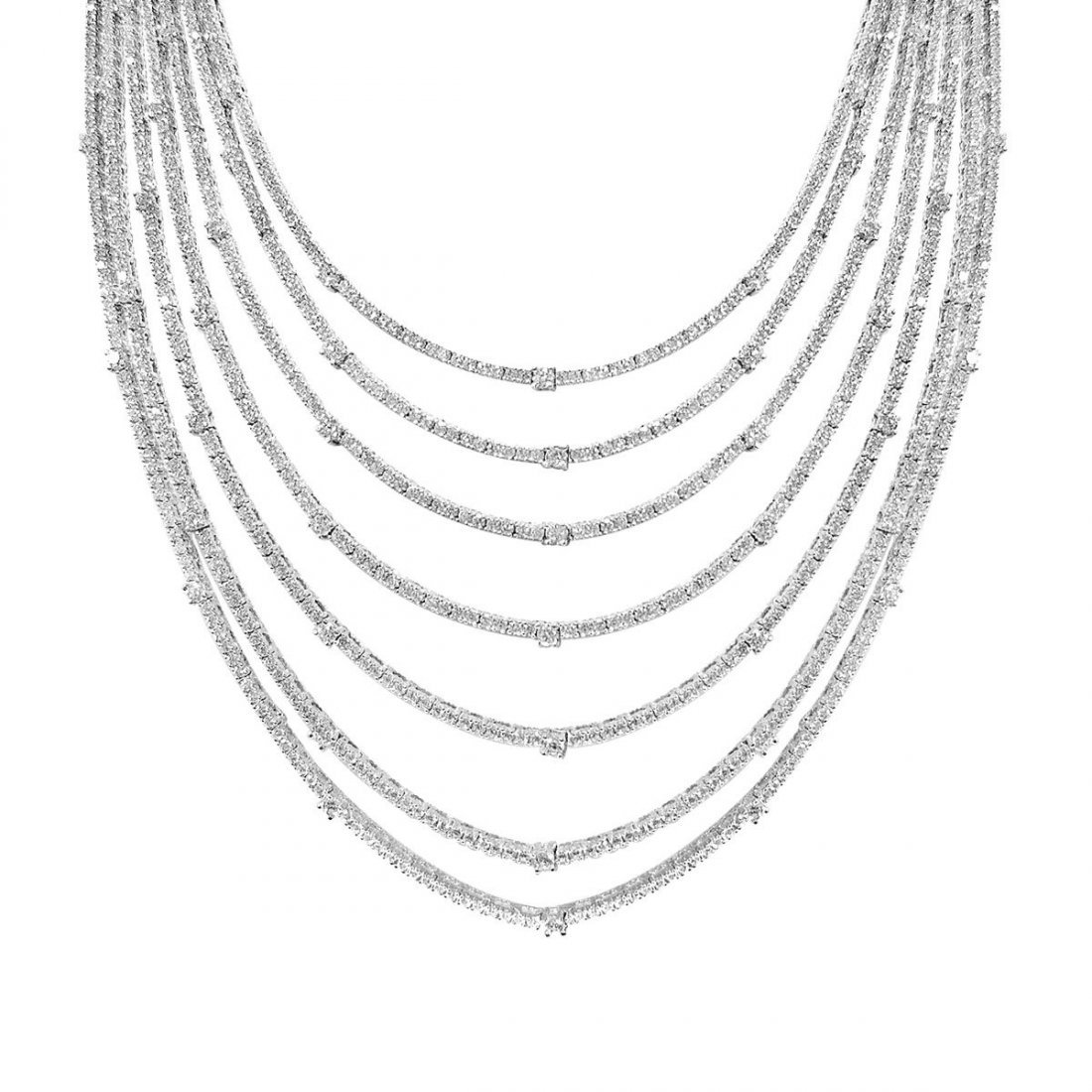 Sterling Silver Rhodium Plated and 7 layer of CZ Neckla