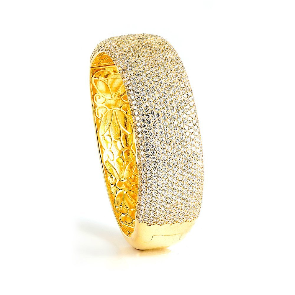 Sterling Silver Gold Plated and micro-pave CZ Bangle