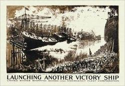 Launching Another Victory Ship 28x42 Giclee on Canvas