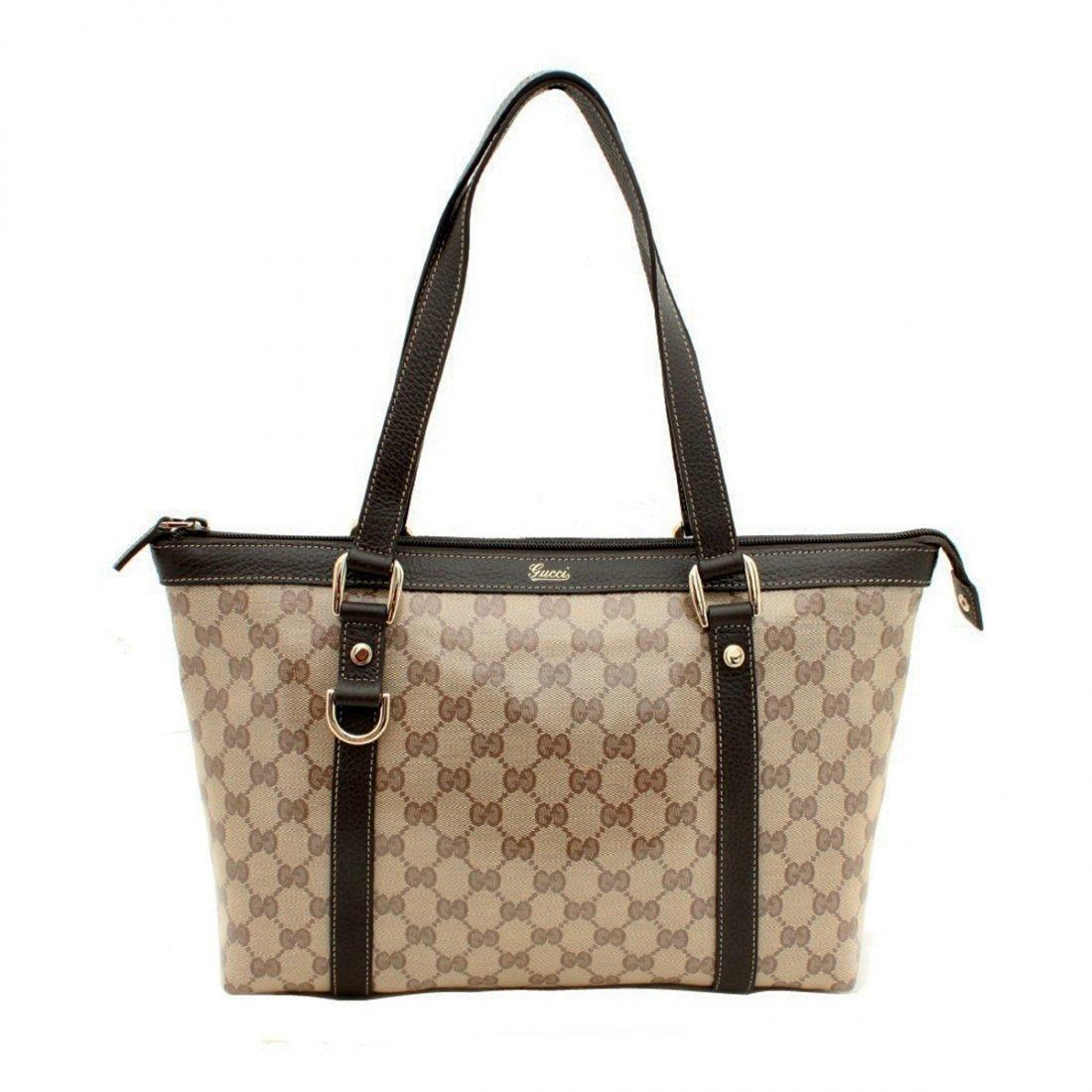 Gucci Crystal Abbey Beige Brown Logo Zipper Tote Bag Ha