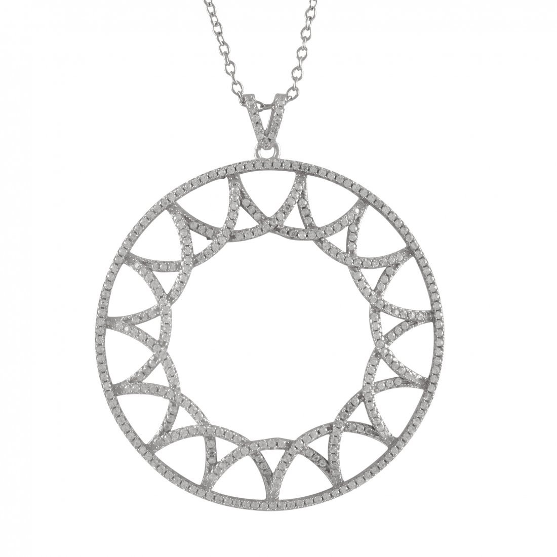 Rhodium Plated Sterling Silver, Open 45mm Circle, Star