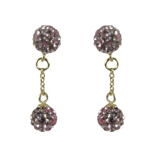 Sterling Silver All 6mm Crystal Balls Earrings