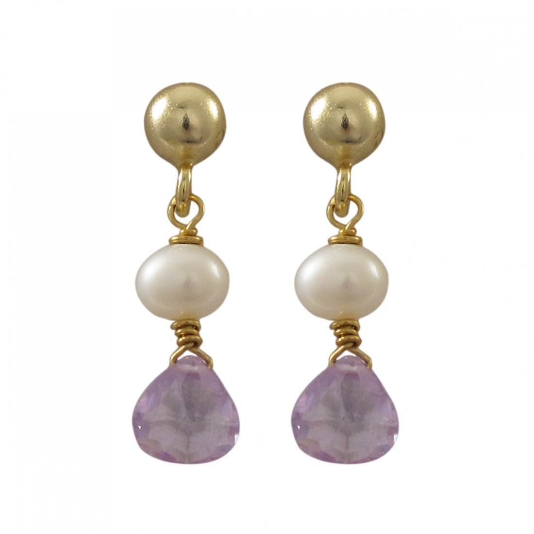 Gold Filled Post Earrings With Dangling White 4mm Pearl