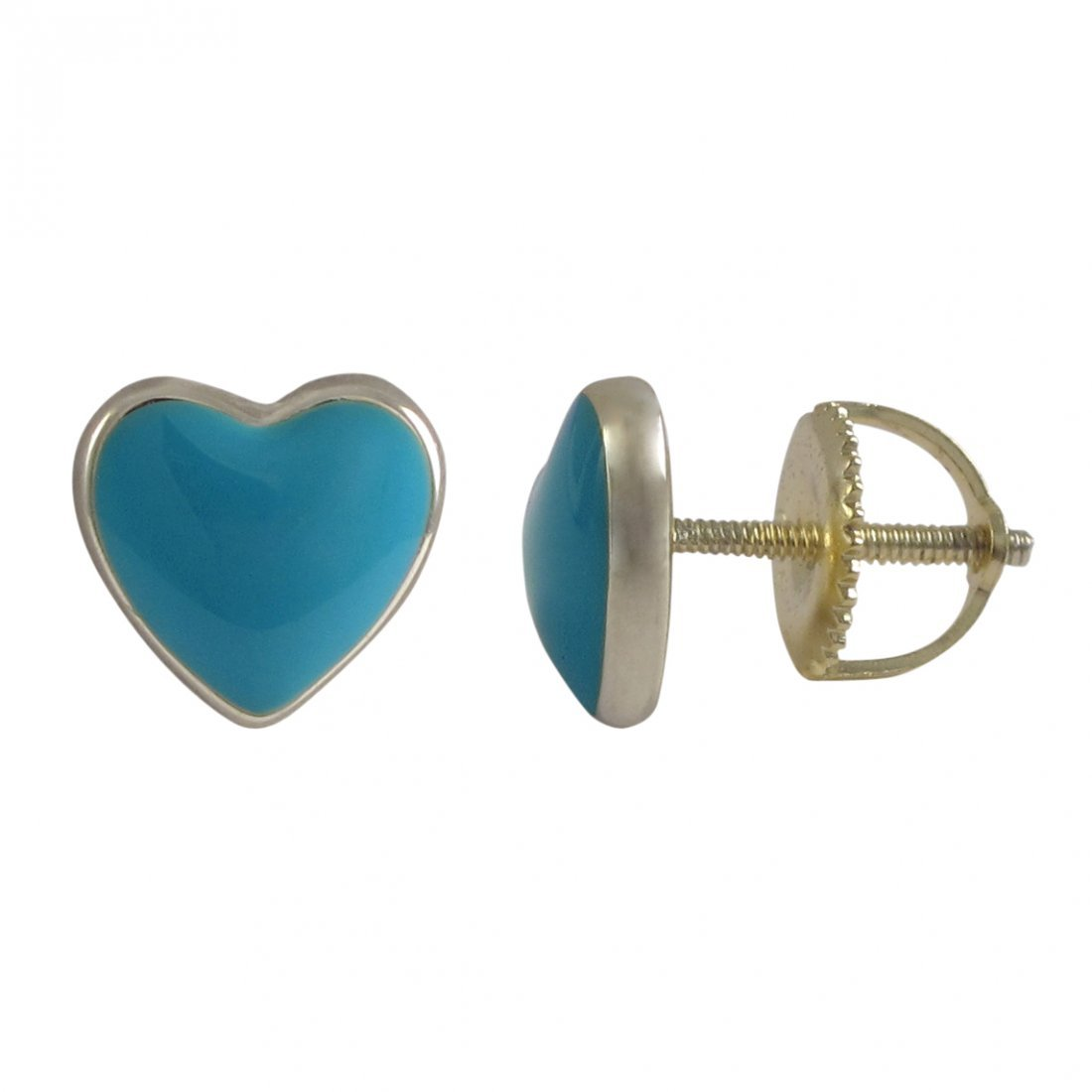 Turquoise Enamel 7x8mm Heart Stud, Gold Plated Sterling