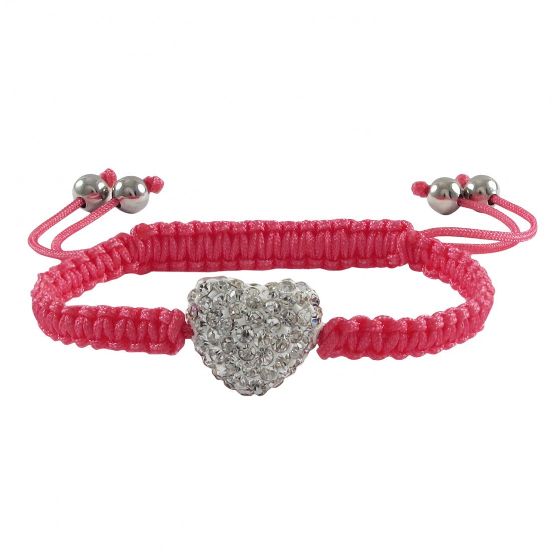 White 11x13mm Crystal Heart on Hot Pink Macrame Cord wi