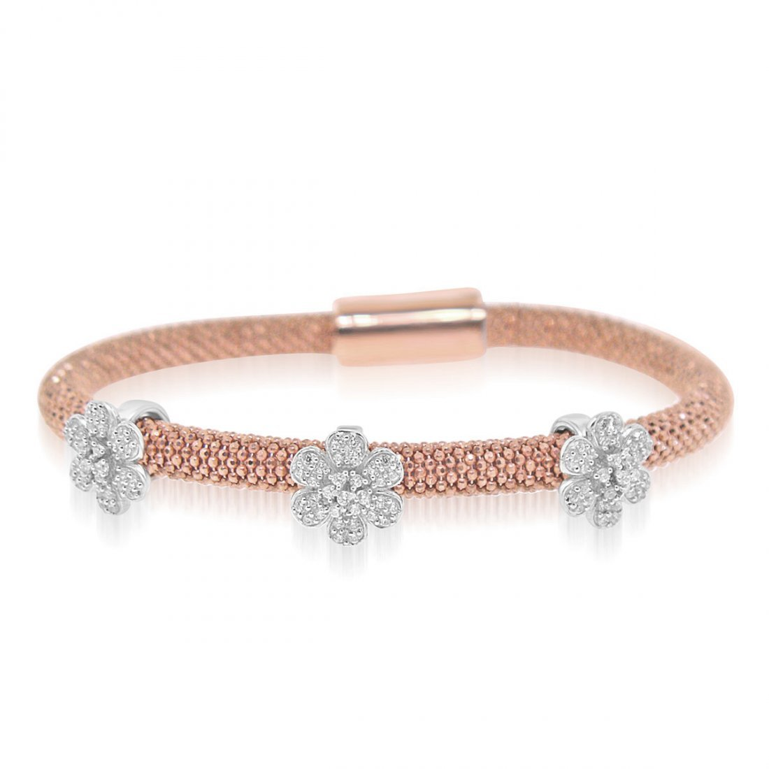 Sterling Silver Rose Gold Plated and CZ 3 station Flowe