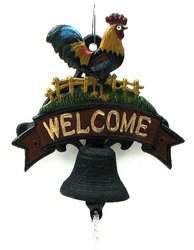 Rooster Welcome Bell Painted Cast Iron