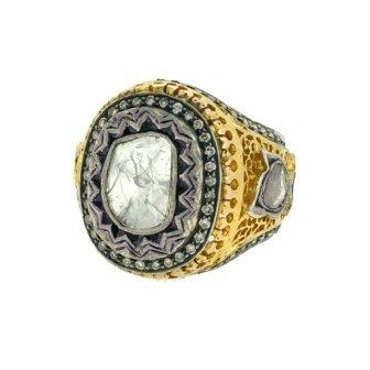 14K Gold  6 Grams   Diamonds  2.05Ct  -  Silver  Total