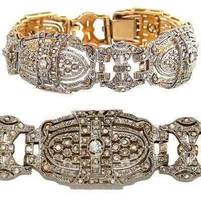 GOLD PLATED ANTIQUE DIAMOND BRACELET 27.30 GRAMS