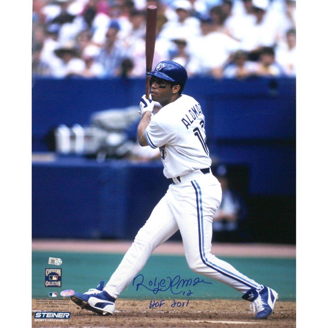 Roberto Alomar Blue Jays white Jersey Swing Vertical 16