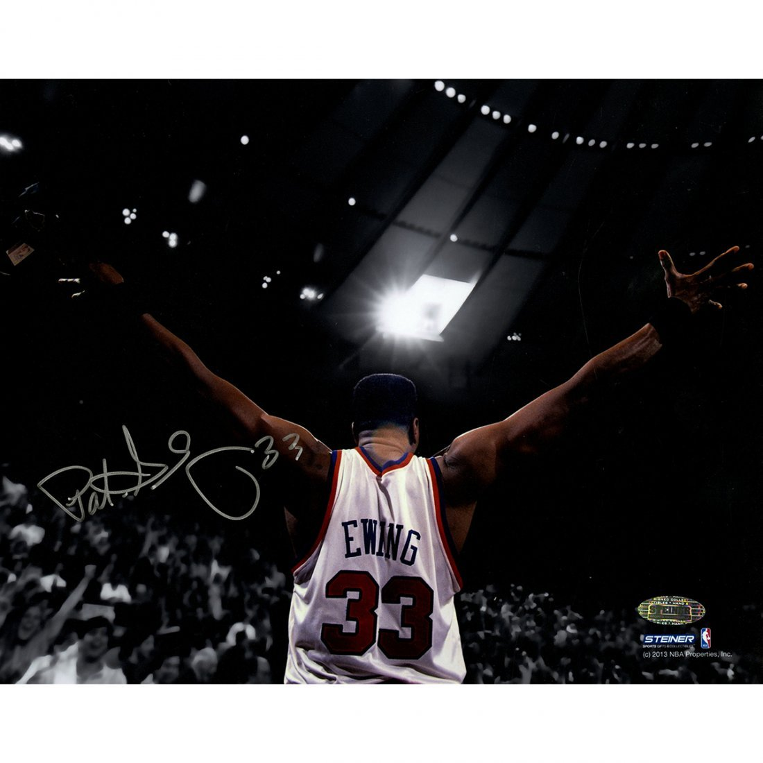 Patrick Ewing Signed Arms Out Facing Crowd 8x10 Photo