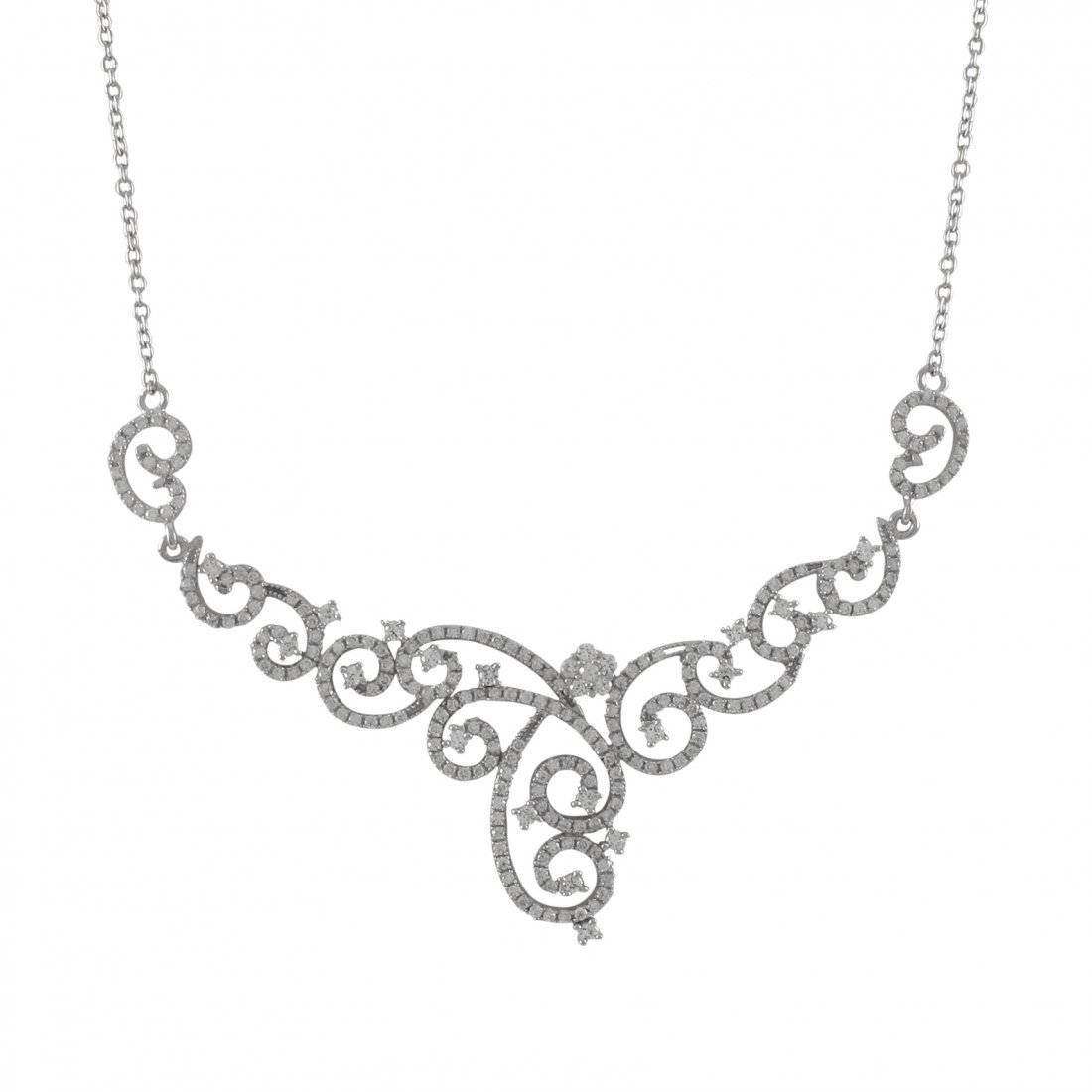 """Rhodium Plated Sterling Silver CZ Necklace -16"""" 2"""""""