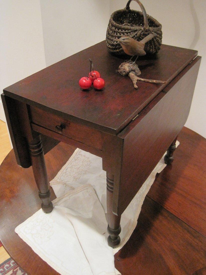 Miniature Walnut Drop Leaf Tea Table Ca 1820s