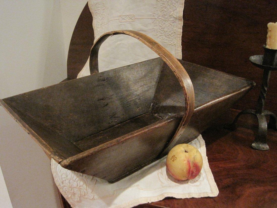 Apple Box Gathering Basket w Bentwood Handle Ca 1800s