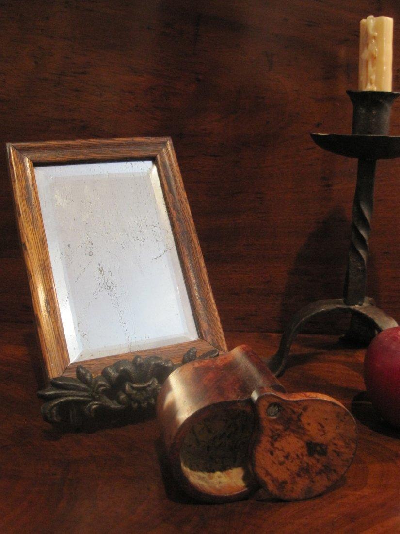Colonial Wax Makeup Pot & Courting Mirror Circa 1700s