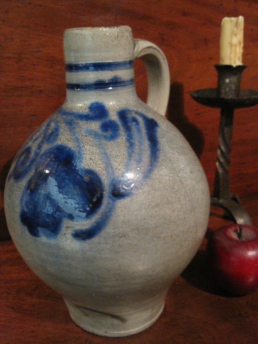 Colonial Stoneware Cobalt Blue Tavern Spirits Jug 1700s - 10