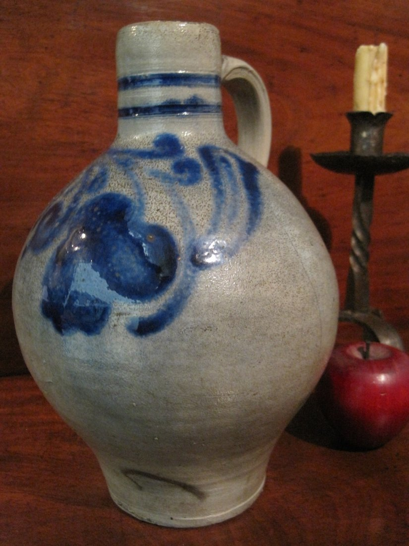Colonial Stoneware Cobalt Blue Tavern Spirits Jug 1700s - 7