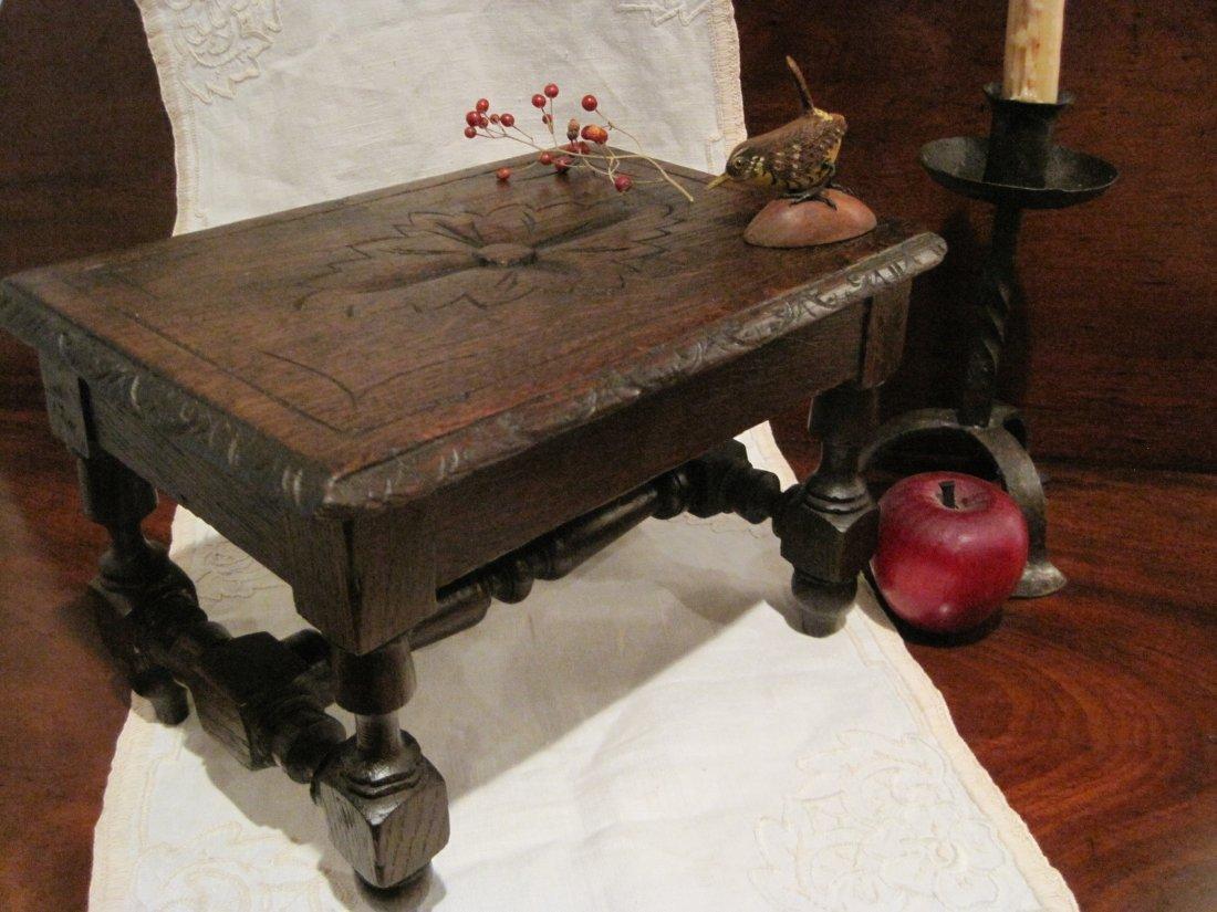 Pilgrim Century Carved Walnut Bench Stool Ca 1600s