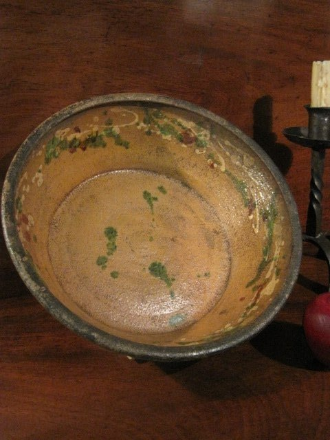 Pennsylvania Moravian Redware Milk Bowl Ca 1700s