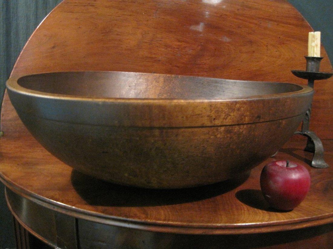 New England Bird's Eye Maple Huge Dough Bowl Ca 1800s