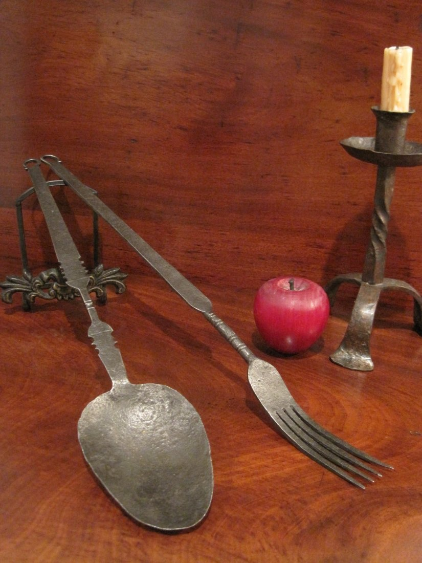 Wrought Iron Open Hearth Spoon & Flesh Fork Ca 1700s