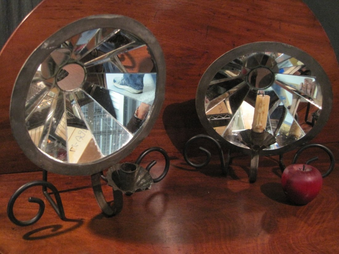 Pair Mirrored Candle Wall Hanging Sconces Ca 1800s