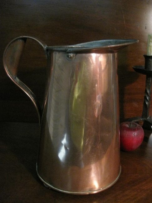 Large Copper Tavern Serving Tin Lined Pitcher Ca 1800s
