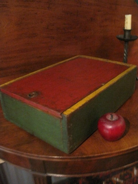 Large Paint Decorated Candle Slide Lid Box Ca 1800s