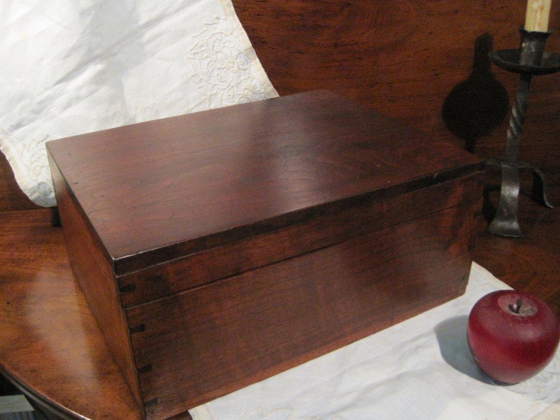 New England Mahogany Dovetailed Document Box Ca 1800s