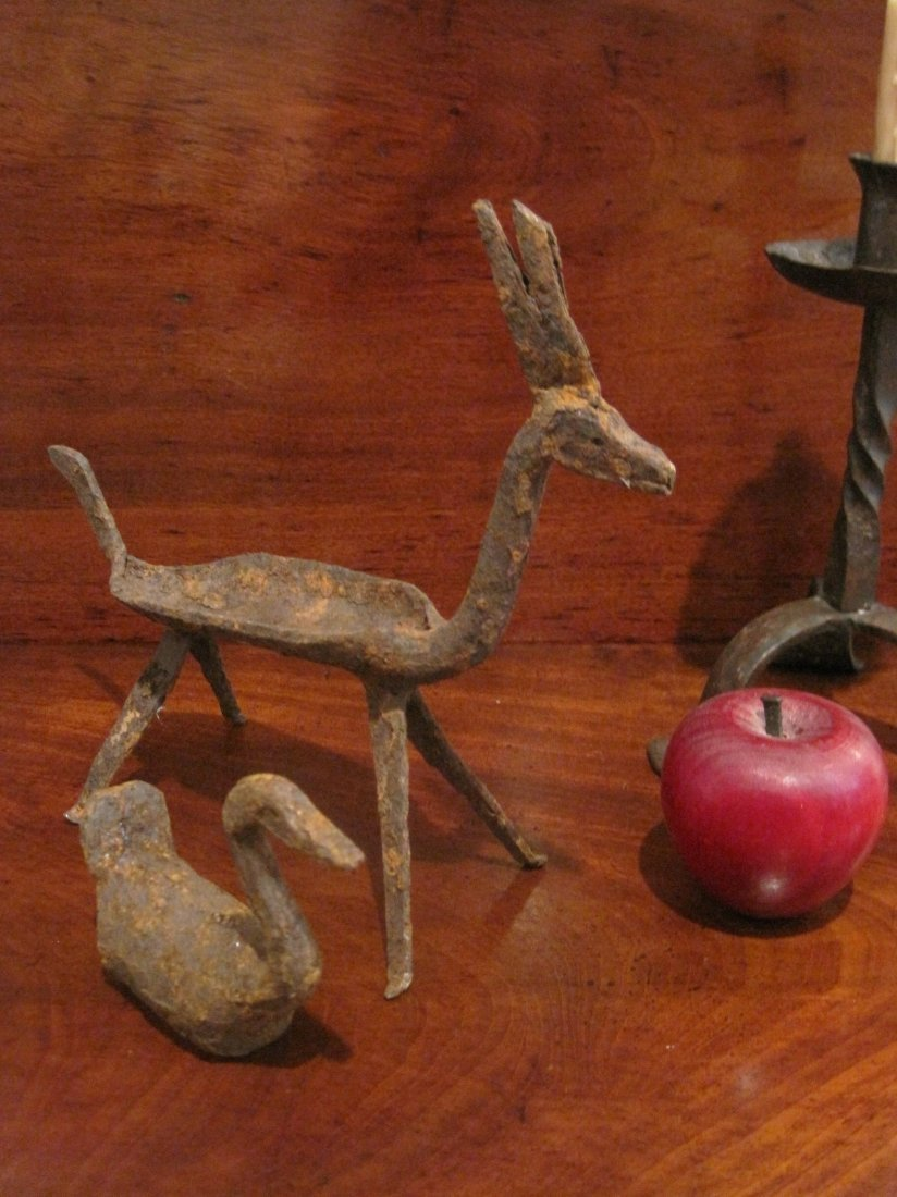 Colonial Folk Art Wrought Iron Swan & Reindeer Ca 1700
