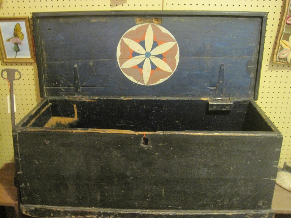 New England Painted Sea Captain Chest w Beckets 1800s
