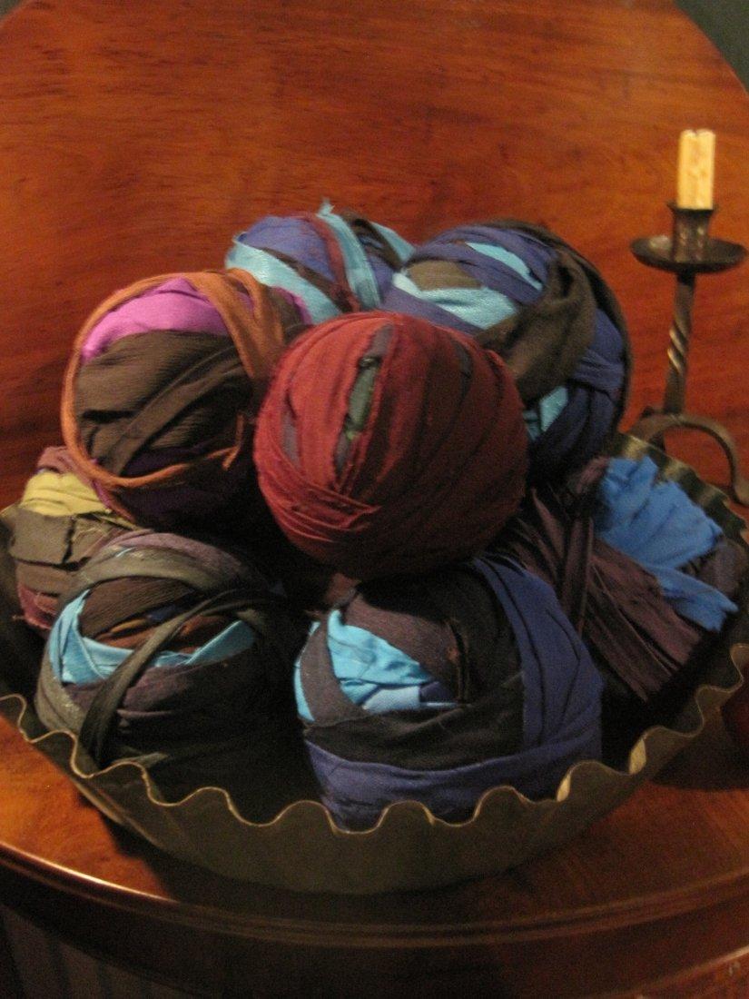 Amish Huge Fluted Tin Pan & 11 Solid Rag Balls Ca 1800s