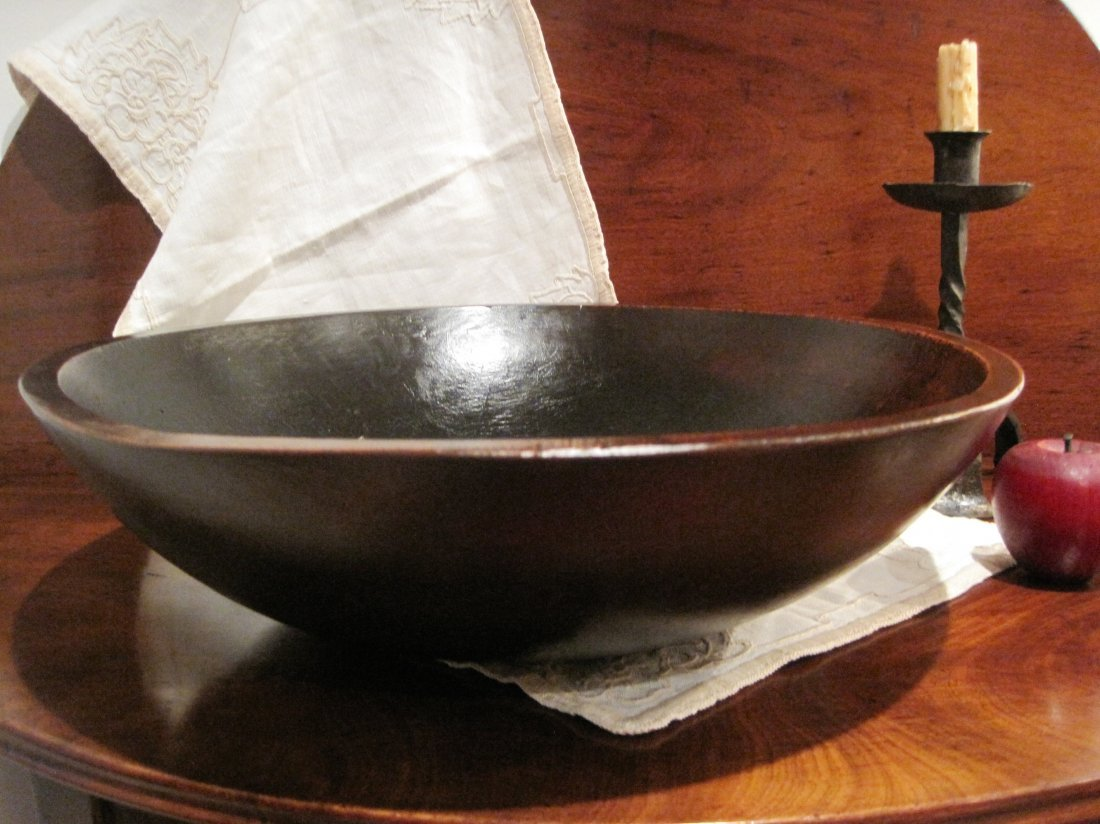 Large Bird's Eye Maple Dough Bowl Ca 1800s