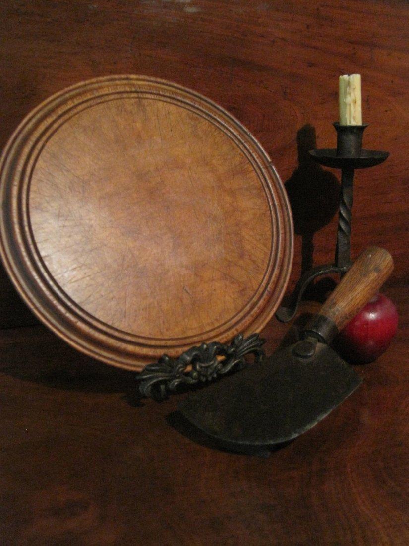 Birds Eye Maple Bread Board & Wrought Iron Knife Ca 170