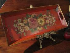 PA Toleware Tin Painted Floral Tray Ca 1800s