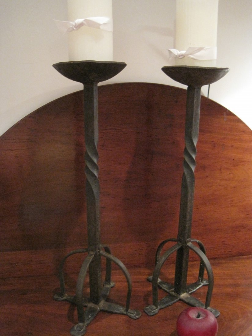 Colonial Wrought Iron Candlesticks Penny Feet Ca 1700s