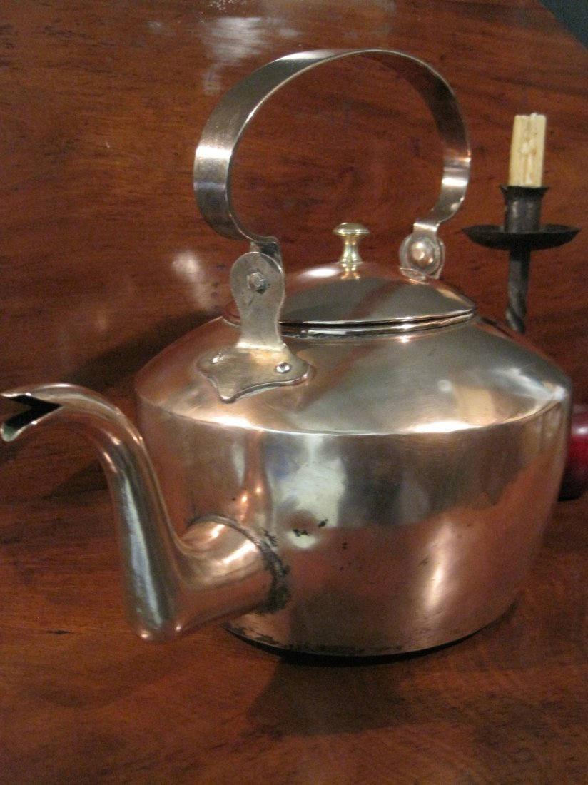 American Copper Dovetailed Goose Neck Tea Kettle 1700s