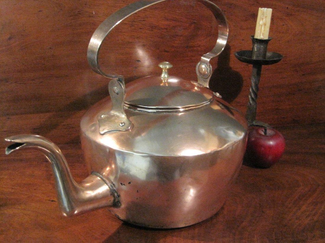American Copper Dovetailed Goose Neck Tea Kettle 1700s - 2