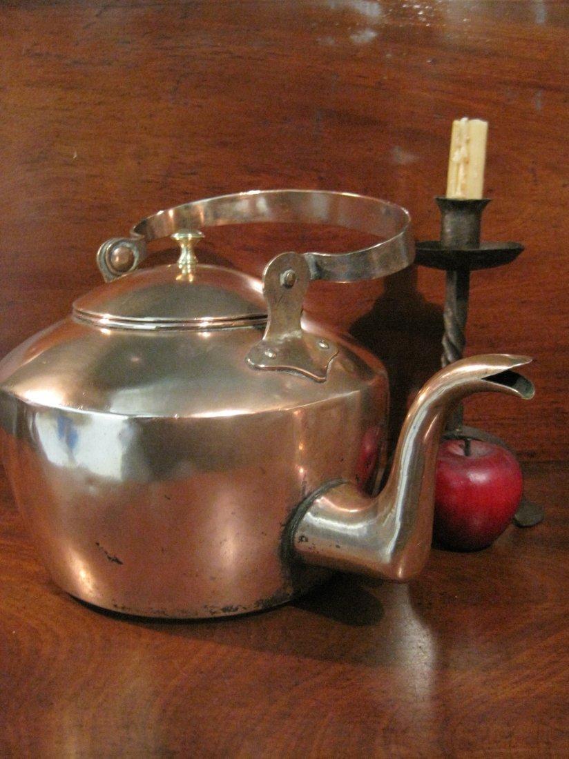 American Copper Dovetailed Goose Neck Tea Kettle 1700s - 4