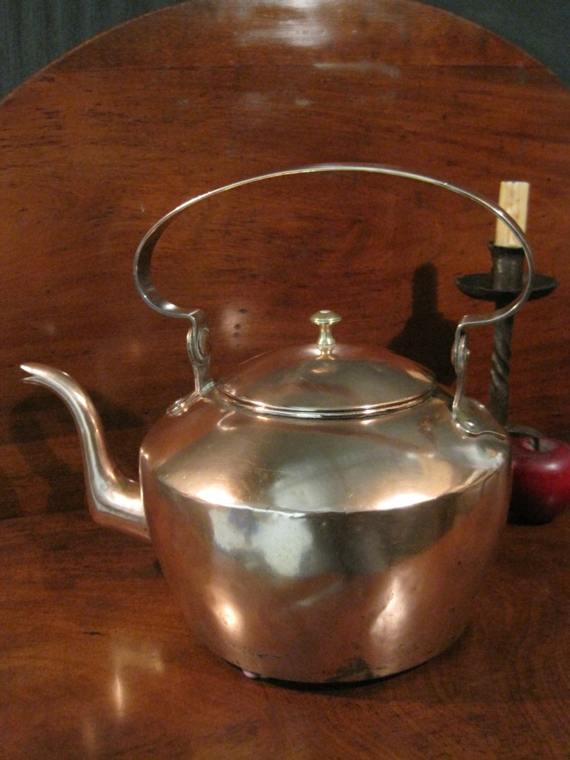 American Copper Dovetailed Goose Neck Tea Kettle 1700s - 7